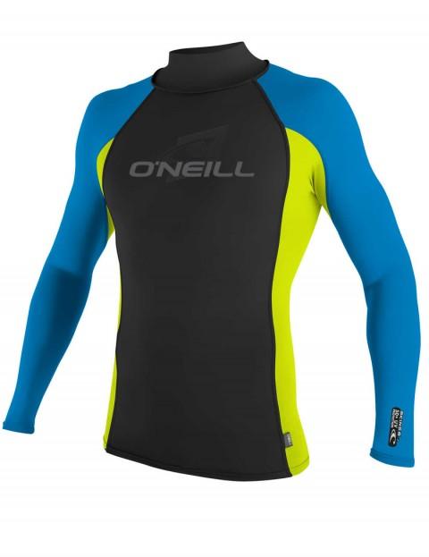 O'Neill Skins Long Sleeve Turtleneck Rash Vest - Black/Lime/Brite Blue