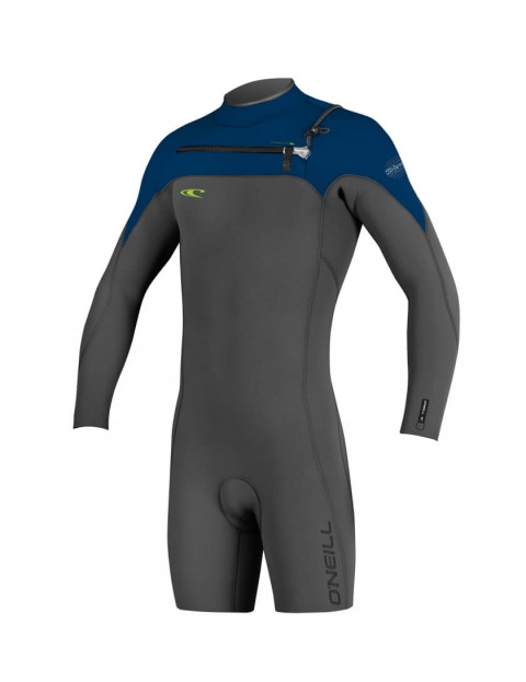 O'Neill Hyperfreak Chest Zip Long Sleeve Shorty 2mm Wetsuit 2016 - Graphite/Deep Sea/Dayglo