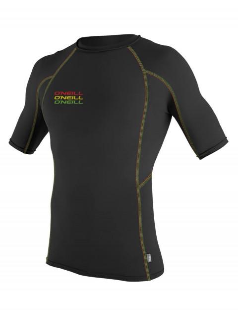 O'Neill Skins Graphic Short Sleeve Crew Rash Vest - Black/Black/Black
