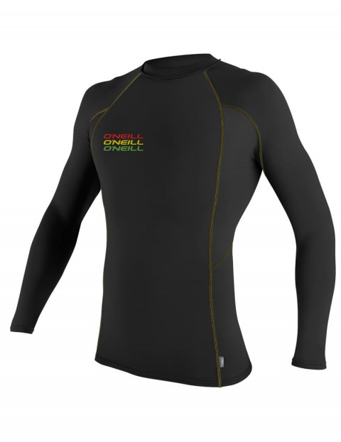 O'Neill Skins Graphic Long Sleeve Crew Rash Vest - Black/Black/Black