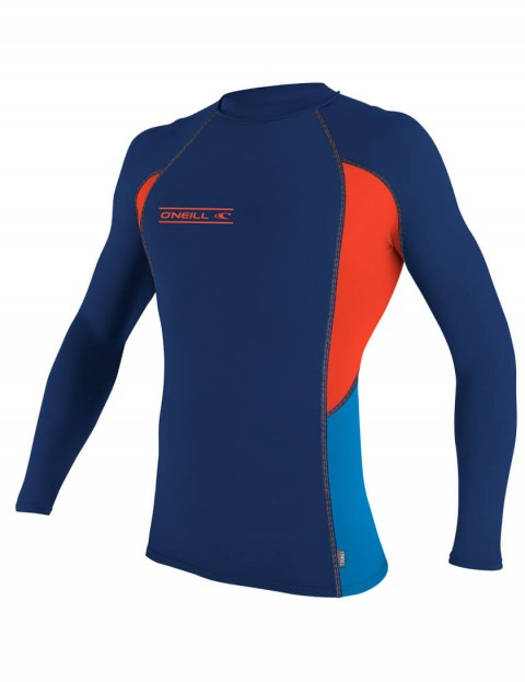 O'Neill Skins Graphic Long Sleeve Crew Rash Vest - Navy/Neon Red/Bright Blue