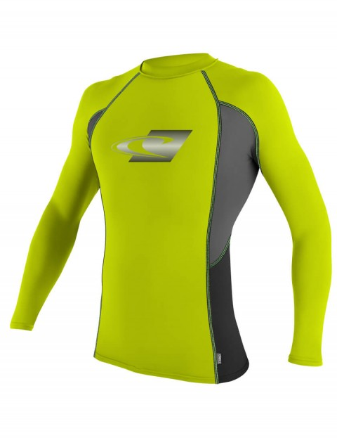 O'Neill Skins Graphic Long Sleeve Crew Rash Vest - Lime/Graphite/Black