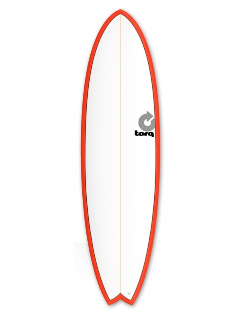 Torq Mod Fish surfboard 6ft 10 - Red/White/Pinline