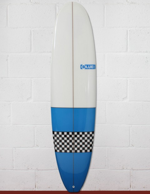 Blue Dot Mini Mal Surfboard 7ft 4 - Light Blue/Checkerboard