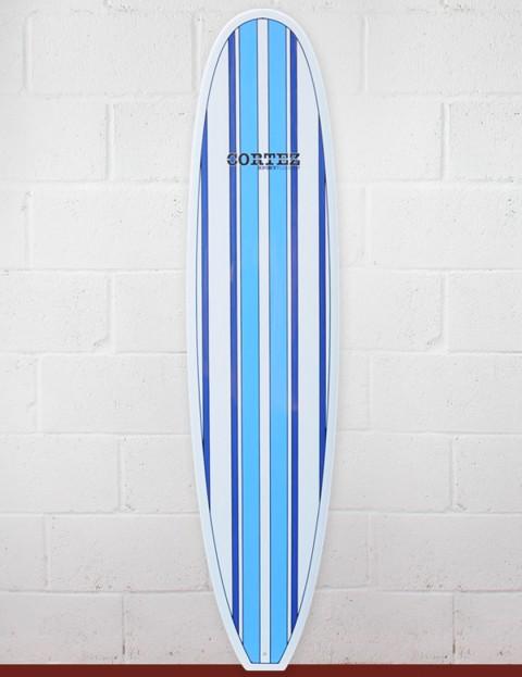 Cortez Surfboards Funboard Surfboard 7ft 2 - Light Blue Stripe