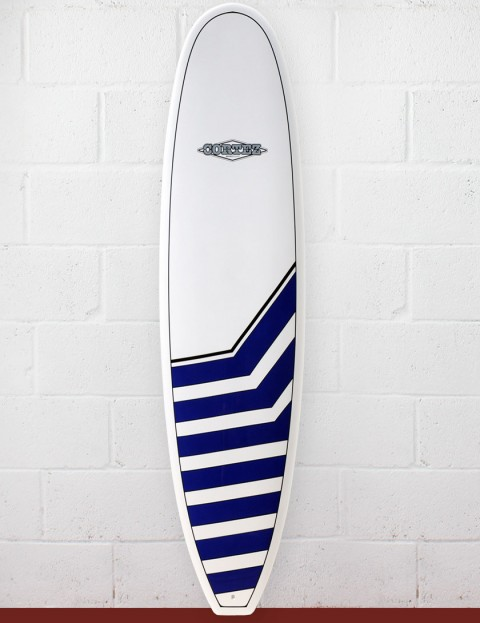 Cortez Funboard Surfboard 8ft - Navy Chevrons