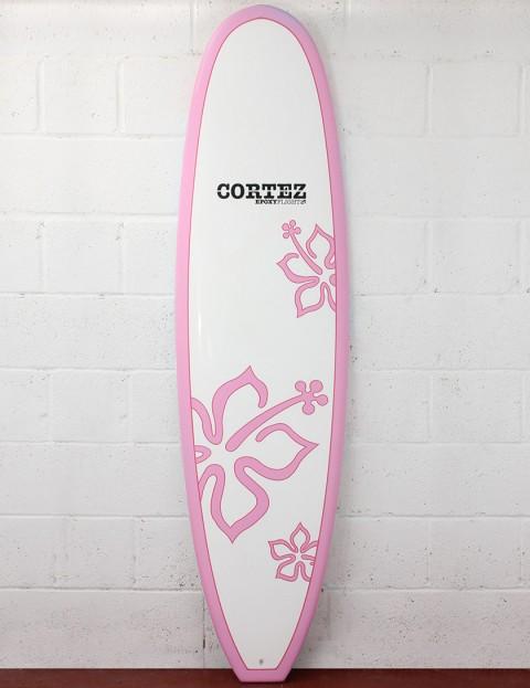 Cortez Surfboards Girls Funboard Surfboard 7ft 6 - Pink Flower