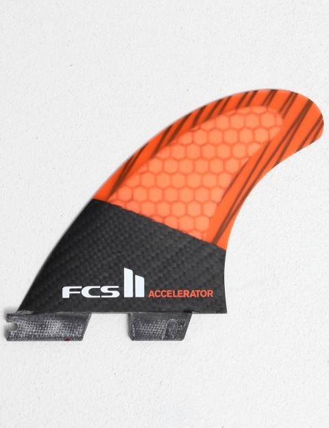 FCS II Accelerator Thruster PC Carbon Medium Tri Fin Set - Orange
