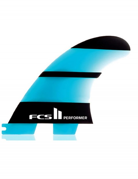 FCS II Performer Neo Glass Tri Fins Small - Neon Blue