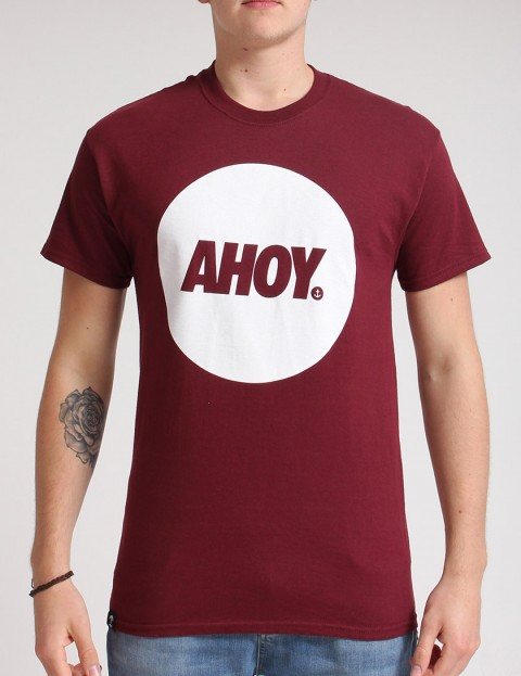 Hold Fast Ahoy Circle T shirt - Merlot