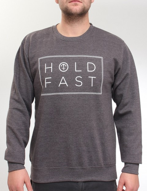 Hold Fast Neck Print Crew neck sweatshirt - Charcoal