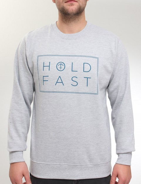 Hold Fast Neck Print Crew neck sweatshirt - Heather Grey