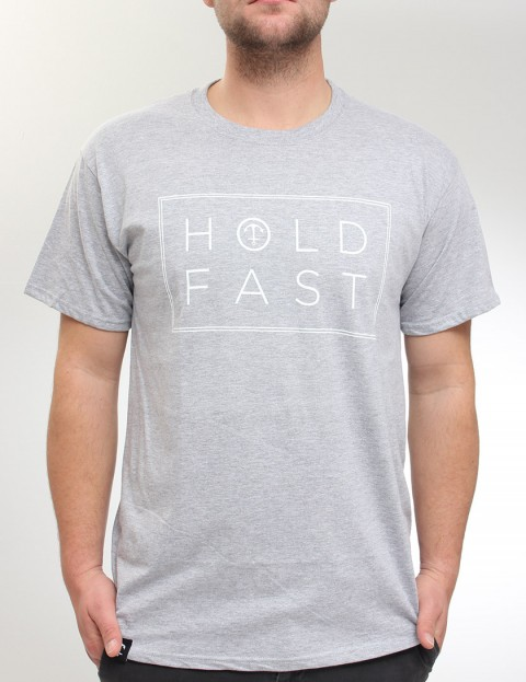 Hold Fast Neck Print T Shirt - Heather Grey
