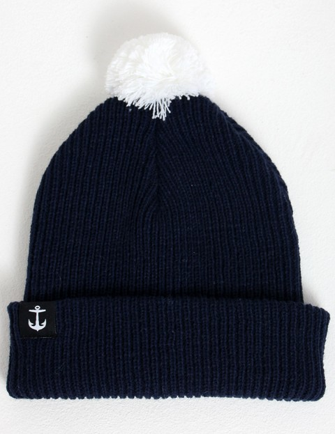 Hold Fast Pom-Pom Bobble beanie - Navy/White