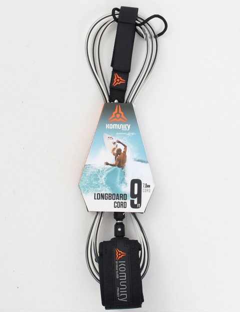 Komunity Project Longboard Cord Surf leash 9ft - Black