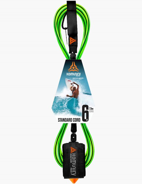 Komunity Project Standard Cord 6ft Surf leash - Lime