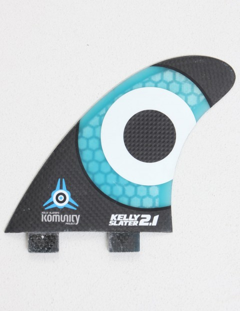 Komunity Project Kelly Slater 2.1 Thruster Honeycomb Carbon FCS Compatible Tri Fin Set - Black/Blue
