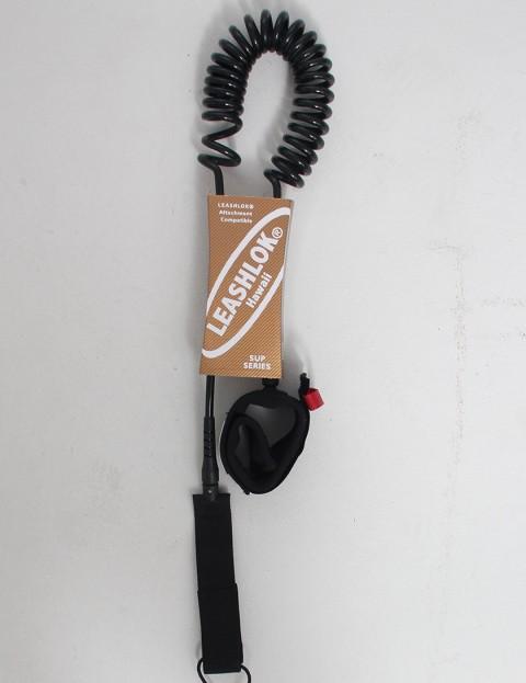 Leashlok SUP Series Coil Calf 8mm Paddleboard leash 10ft - Black