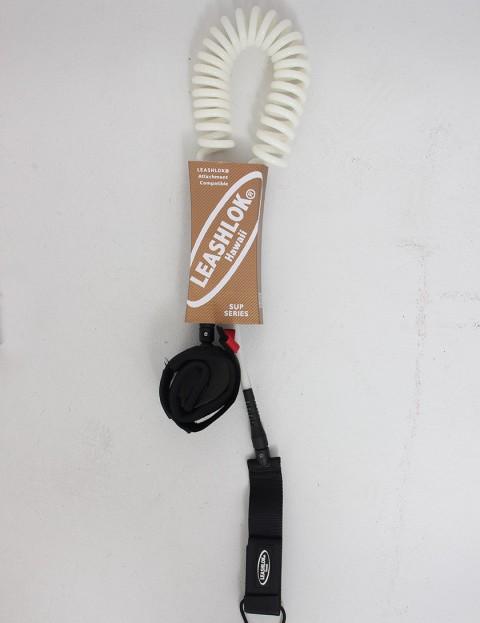 Leashlok SUP Series Coil Calf 8mm Paddleboard leash 10ft - White