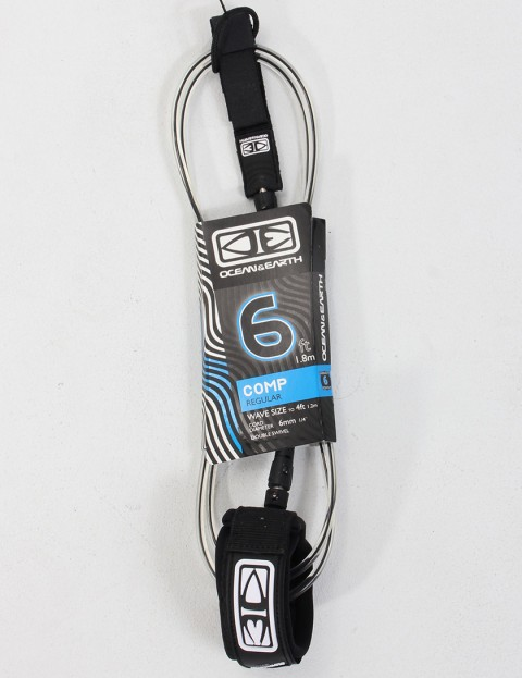 Ocean & Earth Regular Comp 6ft Surf leash - Black