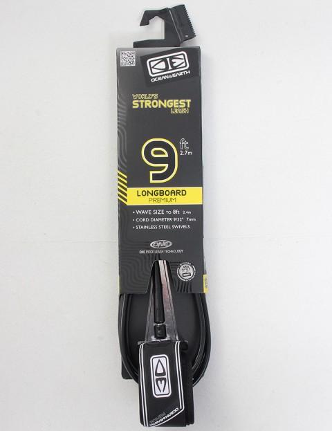 Ocean & Earth Longboard Premium Surfboard leash 9ft - Black