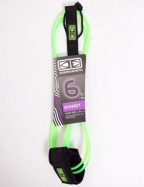 Ocean & Earth Sunset Surfboard leash 6ft - Lime