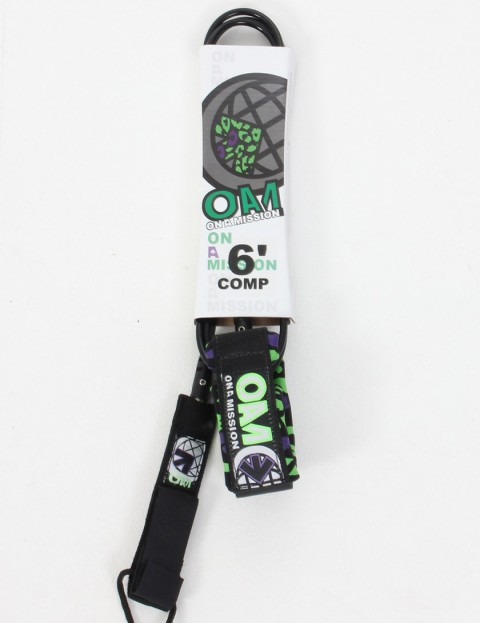 On A Mission Comp Surf leash 6ft - Black Leopard