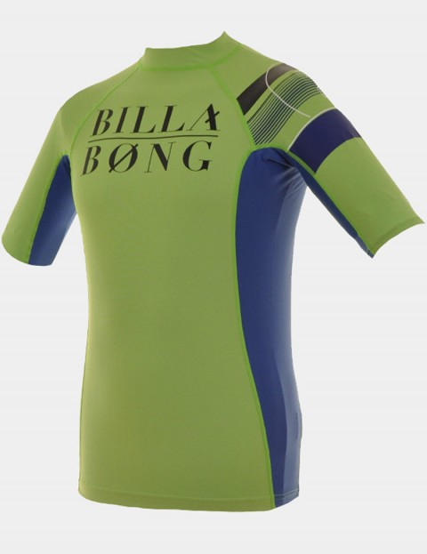 Billabong Edge Short Sleeve Kids rash vest - Neon Green