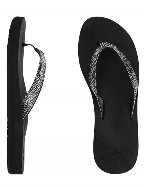 Reef Star Cushion Sassy Ladies Flip flops - Black/Silver