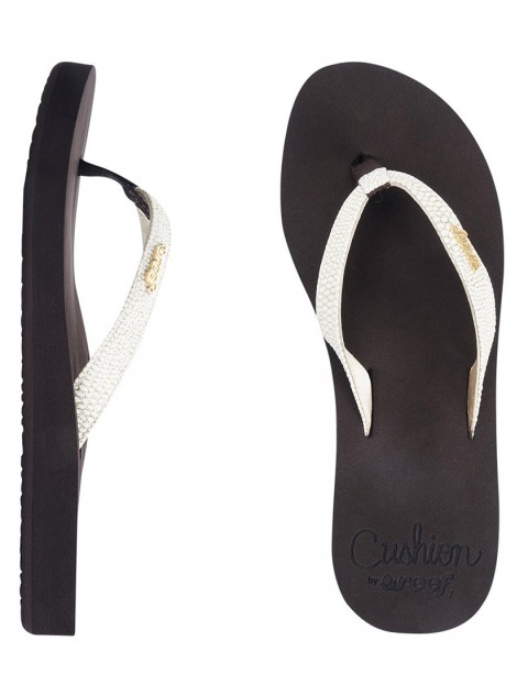 Reef Star Cushion Sassy Ladies Flip flops - Brown/White