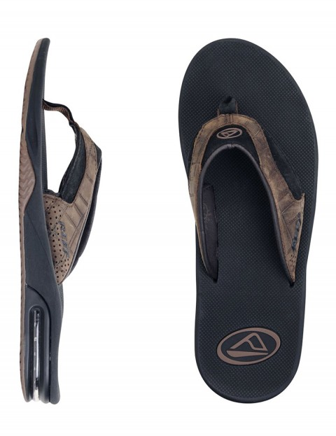 Reef Leather Fanning Flip flop - Brown/Plaid