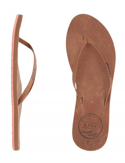 Reef Leather Uptown Ladies Flip flops - Brown/Coral