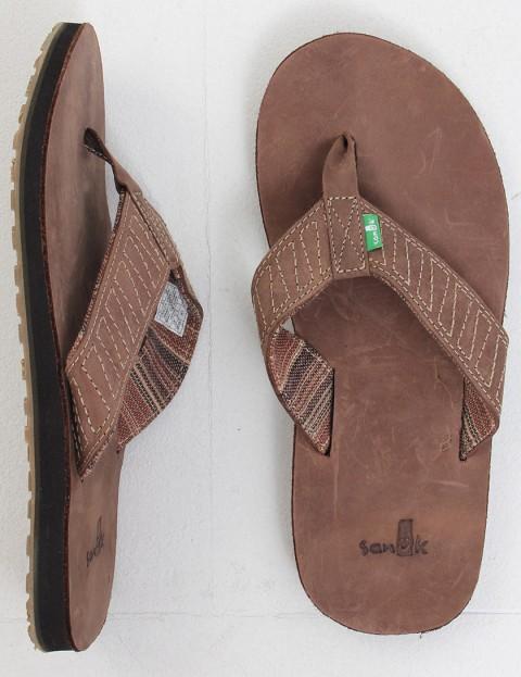 Sanuk Burro Down Leather flip flop - Brown