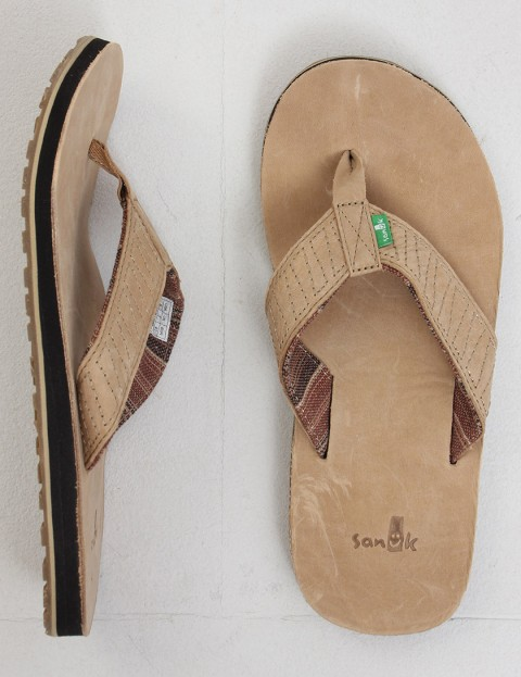 Sanuk Burro Down Leather flip flop - Tan
