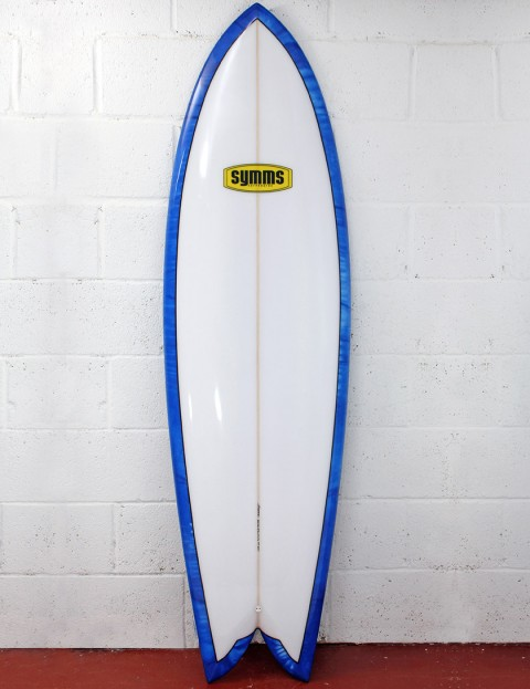 Symms Surfboards Retro Fish Surfboard 6ft 4 - French Blue/Deep Blue Resin Tint