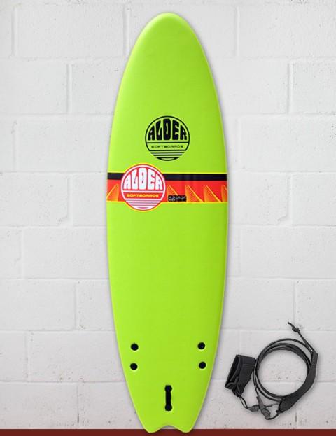 Alder Comp Fish Foam Surfboard 6ft 6 - Lime