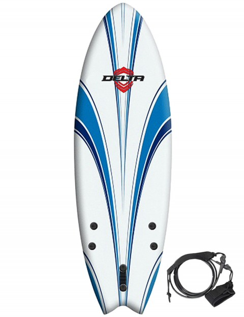 Alder Delta Hybrid Fish Soft surfboard 5ft 6 - White/Blue