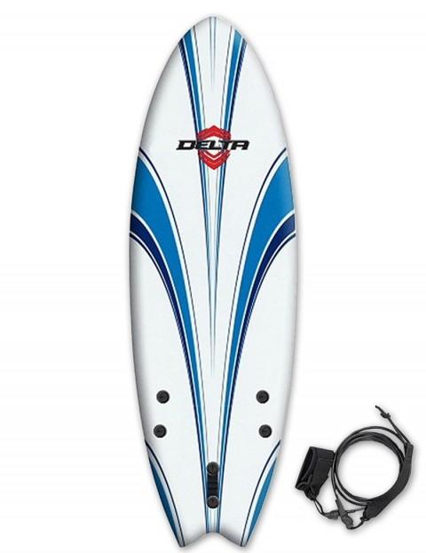 Alder Delta Hybrid Fish Soft surfboard 5ft 6 - White/Blue