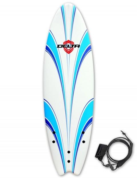 Alder Delta Hybrid Fish Foam surfboard 6ft 6 - White/Blue
