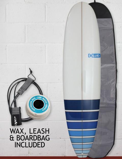 Blue Dot Mini Mal Surfboard Package 8ft 0 FCS - Blue Fade Bars