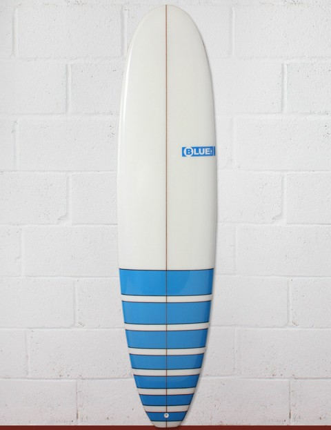 Blue Dot Mini Mal Surfboard 8ft 0 FCS - Blue Stripes