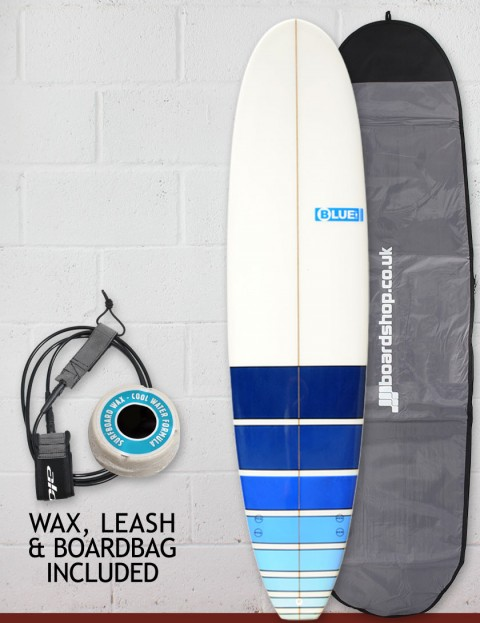Blue Dot Mini Mal Surfboard Package 7ft 4 - Blue Fade Bars
