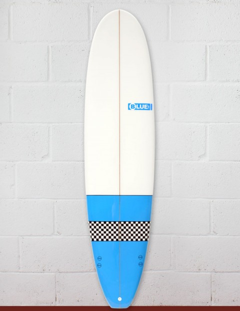 Blue Dot Mal Surfboard 9ft 2 - Light Blue/Checkerboard