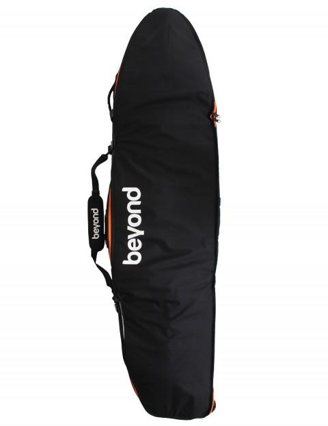 Beyond 4-Roller wheeled quad coffin surfboard bag 10mm 7ft 1 - Black/Orange
