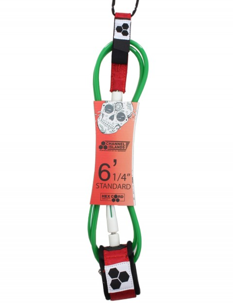 Channel Islands Bobby Standard Hex surfboard leash 6ft - Red/White/Green