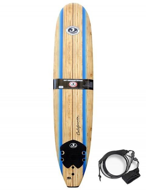 California Board Company Longboard foam surfboard 9ft 0 - Wood Grain/Blue