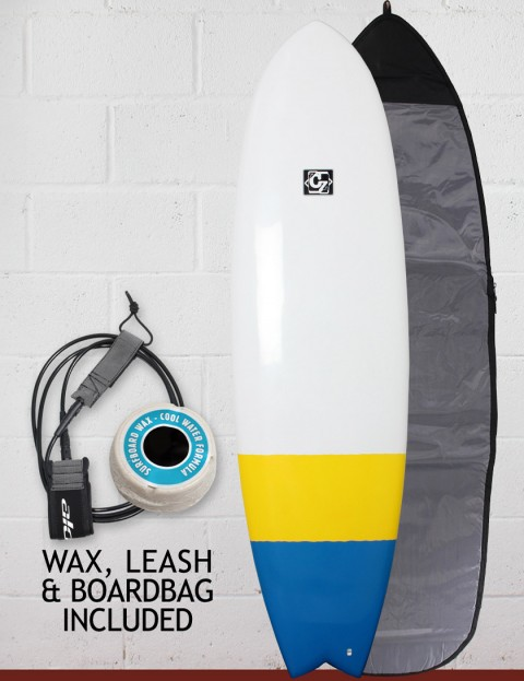 Cortez Fish surfboard package 6ft 3 - Blue/Yellow Dip
