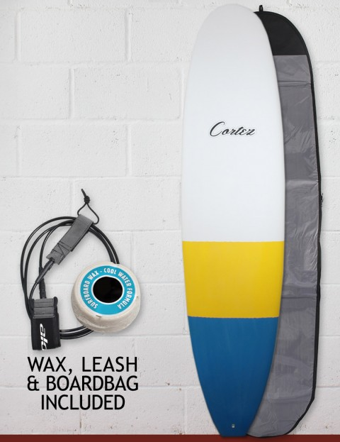 Cortez Funboard Surfboard package 7ft 4 - Blue/Yellow Dip
