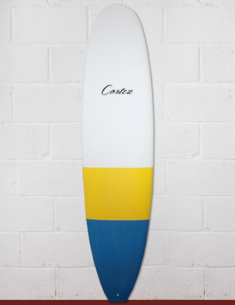 Cortez Funboard Surfboard 7ft 4 - Blue/Yellow Dip