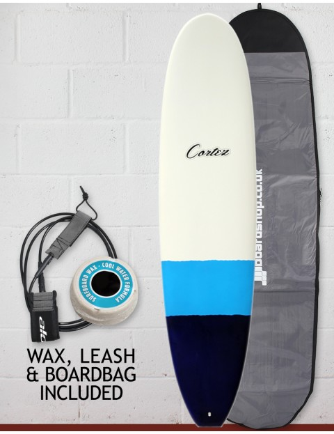 Cortez Funboard Surfboard Package 7ft 4 - Navy/Blue Dip